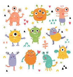 Cute clipart set funny monsters for kids vector