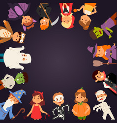 cute kids wearing halloween party costumes vector image