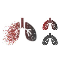 Damaged dotted halftone lungs icon vector