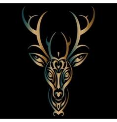 Deer head Polynesian tattoo style vector