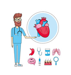 Doctor stethoscope with heart diagnosis treatment vector