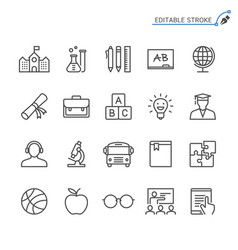 education line icons editable stroke vector image