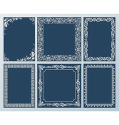 Elegant set Ornate frames and vintage scroll vector