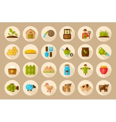 Farm Garden flat icon with long shadow vector image