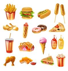 Fast Food Menu Colorful Icons Set vector