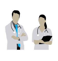 Female and Male Doctor Silhouettes vector