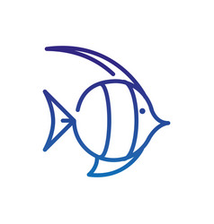 Fish caribbean marine life thick line blue vector