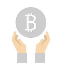 flat icon design of bitcoin in hand vector image
