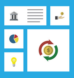 Flat icon finance set of bubl interchange bank vector