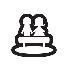 Flat icon in black and white boy girl bench vector