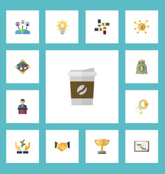 Flat icons support schedule coin and other vector