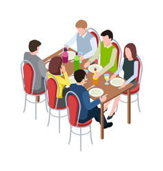 friends meeting family festive dinner isometric vector image