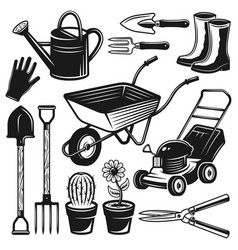 Gardening tools and equipment objects vector