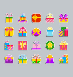 Gift patch sticker icons set vector