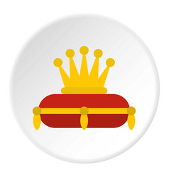gold crown on red pillow icon circle vector image