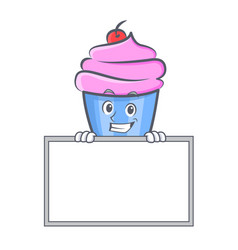 Grinning cupcake character cartoon style with vector