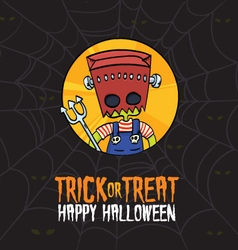 Halloween Trick or Treat Frankenstein Costume vector image