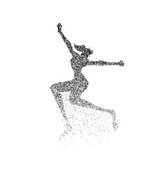 happy girl jump silhouette particle dust splash vector image