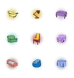 Home furniture icons set pop-art style vector