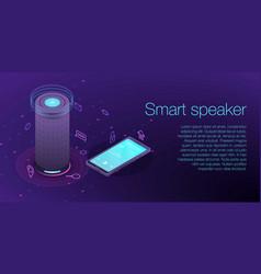 Home smart speaker concept banner isometric style vector