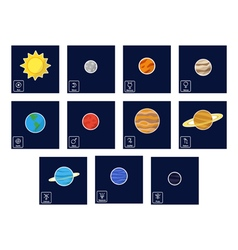 icon set with Planets and astrology symbols vector image