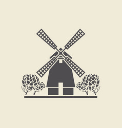 Icon windmill with trees vector