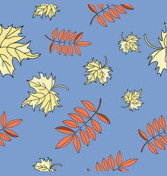 leaves autumn seamless pattern color vector image