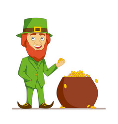 Leprechaun in green suit stands next to a pot full vector