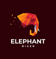 Logo elephant low polly style vector