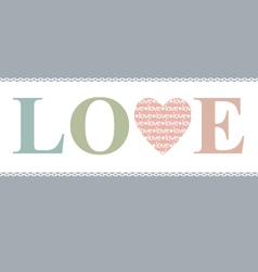 Love in heart retro pastel vector