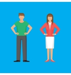 Man and woman are standing holding arms akimbo vector image