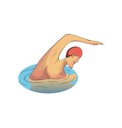 man swimming in pool professional swimmer male vector image