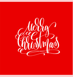 merry christmas hand lettering inscription on red vector image