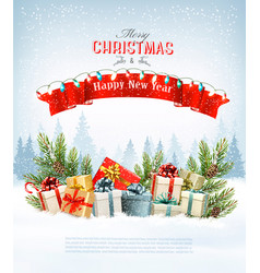 Merry christmas holiday background with branches vector