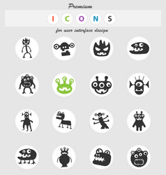 monsters icon set vector image