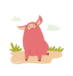 one happy young piglet sitting in a dirt vector image