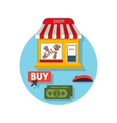 Online Shop Icon Flat Sale and Buy vector image