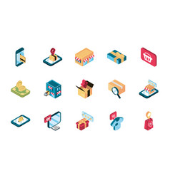 online shopping isometric icons collection vector image