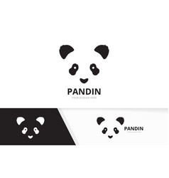 panda logo combination animal and nature vector image