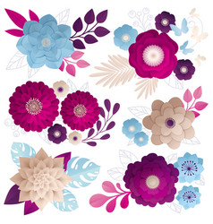 Paper flowers compositions colorful set vector