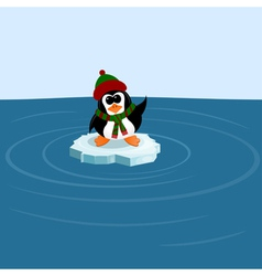 Penguin on an ice floe in the sea vector