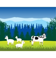 Pets animals on nature vector