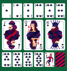 Poker playing cards club suit set vector