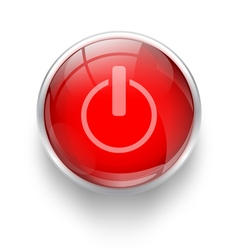 Power off icon red button vector image
