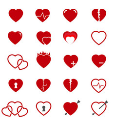 red heart icons set vector image
