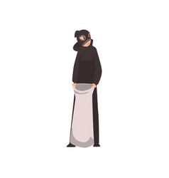 Robber dressed in black clothes and mask standing vector