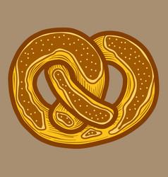 Salt pretzel icon hand drawn style vector