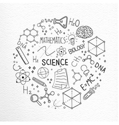science hand drawn doodle icons concept vector image