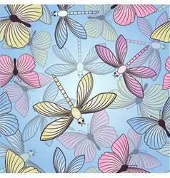 Seamless background with butterflies and vector image