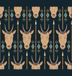 seamless native american pattern with antelopes vector image